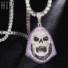Hip Hop Bling crâne glacé Bling cubique Zircon collier et pendentif pour hommes bijoux chaîne de Tennis de charme