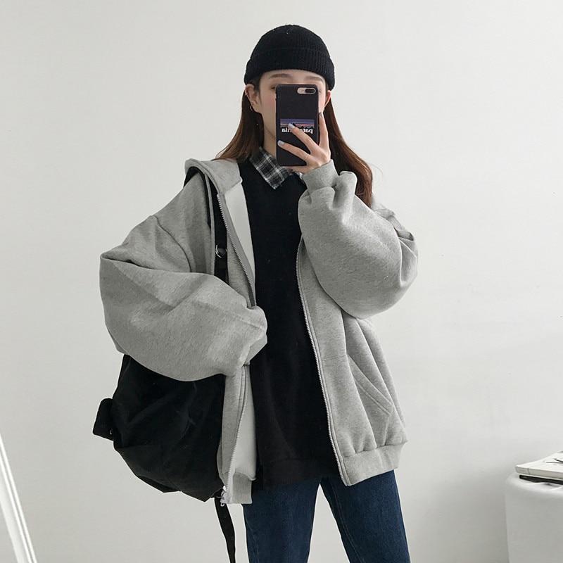 2020 primavera otoño sudaderas con capucha mujer moda suelta con capucha caliente Zip-up suave bolsillo coreano manga larga sudadera para mujer lindo N914