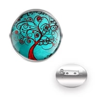 classic tree of life design brooches collar pin glass convex dome charm decoration accessories gift