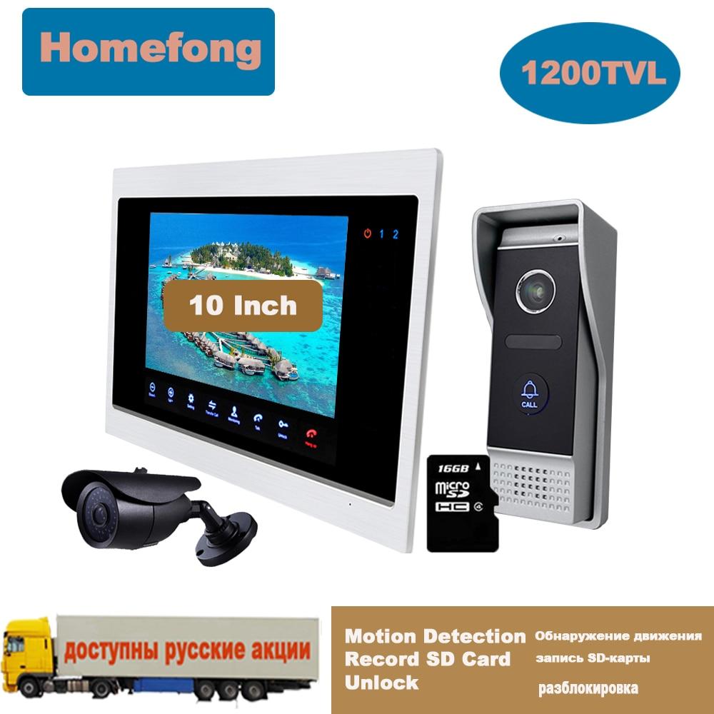Homefong-هاتف فيديو بشاشة كبيرة مقاس 10 بوصات وجرس باب ونظام اتصال داخلي وكاميرا وكشف الحركة وفتح القفل