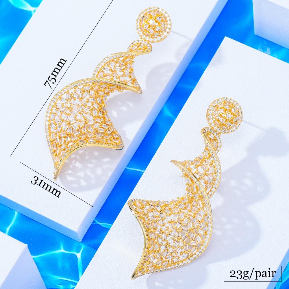 missvikki Luxury Spin Long Big Pendant Earrings For Women Wedding Party CZ Dubai Bridal Earrings Fashion Trendy Jewelry