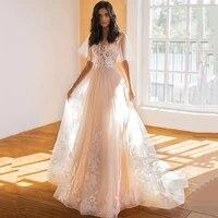 light champagne fairy boho wedding dresses 2021 lace bride dress a line applique vintage wedding gowns sweep train women