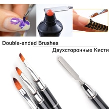 NEW 1Pcs Brush For Manicure Double-Sided Brushes For Nail Drawing UV Gel Varnish Painting Nail Exten