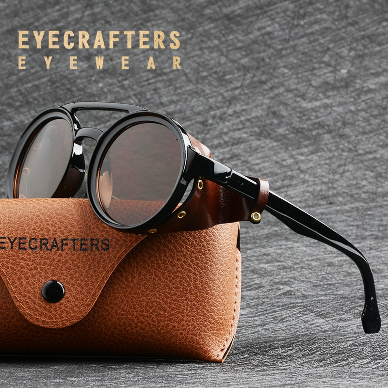 Eyecrafters Men Steampunk Goggles Sunglasses Women Retro Shades Fashion Leather With Side Shields St