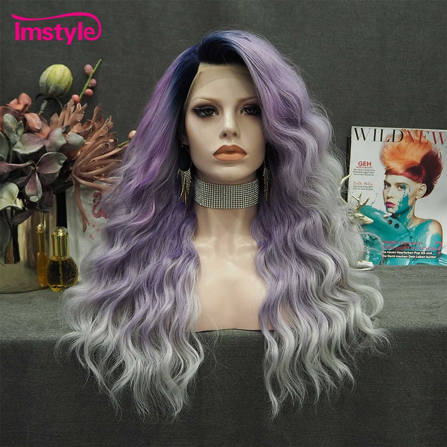 Imstyle Ombre Purple Wig Long Synthetic Lace Front Wig Heat Resistant Fiber Dark Root Deep Wave Cosplay Wigs For Women