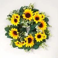 artificial sunflower wreath green leaf eucalyptus garland flower wreath for home decoration farmhouse decor