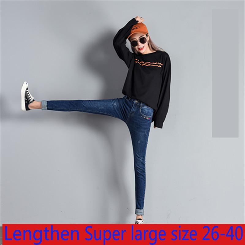 Nova chegada de alta qualidade preto e azul elástico pequeno perna lápis calças x-grande jeans longos casual denim plus size 26-34 36 38 40