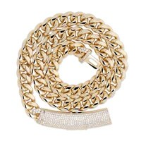 12mm hip hop miami cuban chain iced out necklace rapper jewelry cubic zirconia gold sliver ga0903
