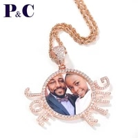 custom photo with name diy pictures copper micro paved cz hip hop jewelry with 3mm rope chain