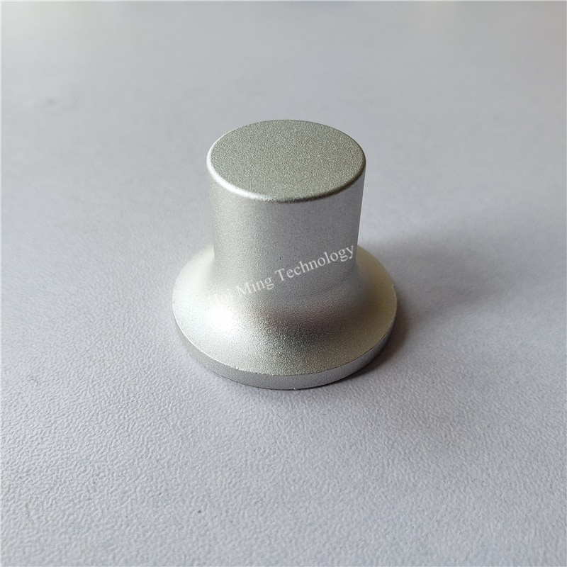 2 uds Pomo de aluminio tapa con botón para potenciómetro escalonado con superficie curva plateado 30*23,5*6mm tapa del interruptor codificador para perilla amplificadora