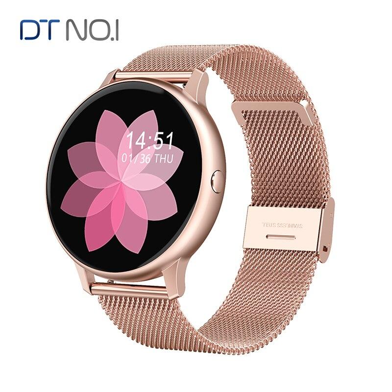 DT NO.1 ساعة ذكية تعمل باللمس الكامل النساء أسورة ضد الماء ECG مراقب معدل ضربات القلب النوم رصد Smartwatch الرجال ل IOS أندرويد