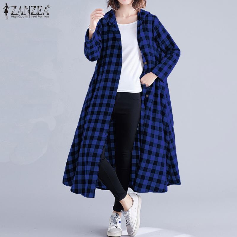 ZANZEA durante mucho tiempo, las mujeres Cardigan 2020 Vintage Plaid sudaderas con capucha larga Camisetas con mangas harajuku blusa Kimono bolsillos vestido Chemise