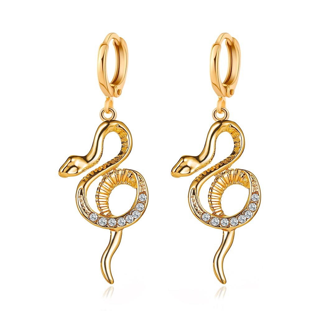 1 par de pendientes Huggies de estilo europeo con diamantes de imitación de animales para mujer, pendientes circulares de serpiente de Color dorado Punk, accesorios de joyería E507