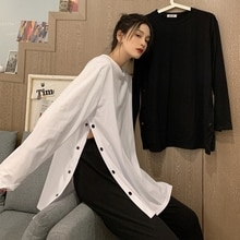 White Side Slit Long-Sleeved T-shirt for Women Ins Trendy Preppy Style Fashionable and Craftily-Desi