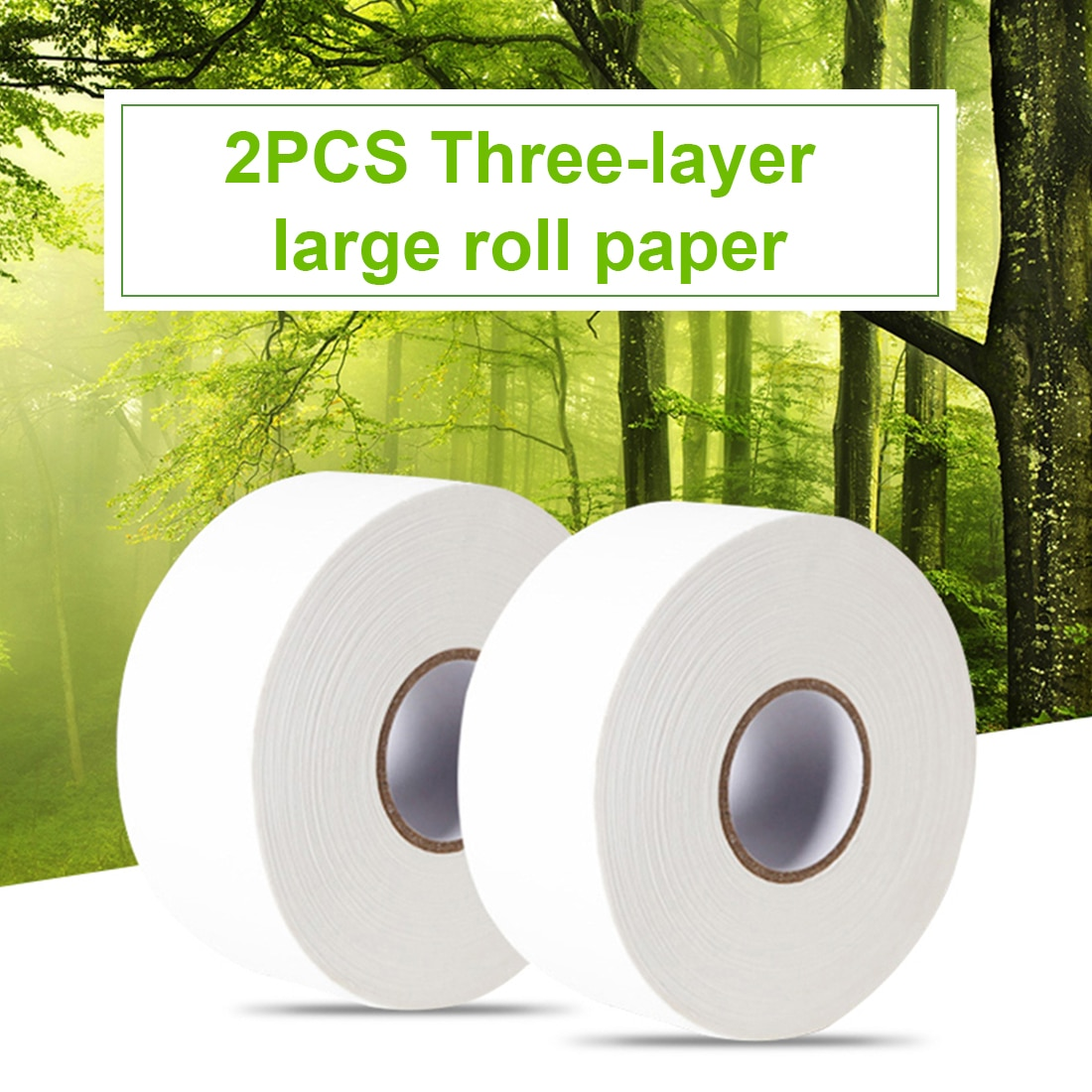 2pcs/bag 900+sheets 580g/roll Jumbo Roll White Toilet Tissue Hollow Replacement Roll Paper Cleaning Soft Toilet Paper