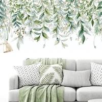 Autocollant mural feuilles tropicales vertes  adhesif mural  plantes  baton mural  peintures murales pour chambre a coucher  salon  salle de classe  bureau  decoration de maison