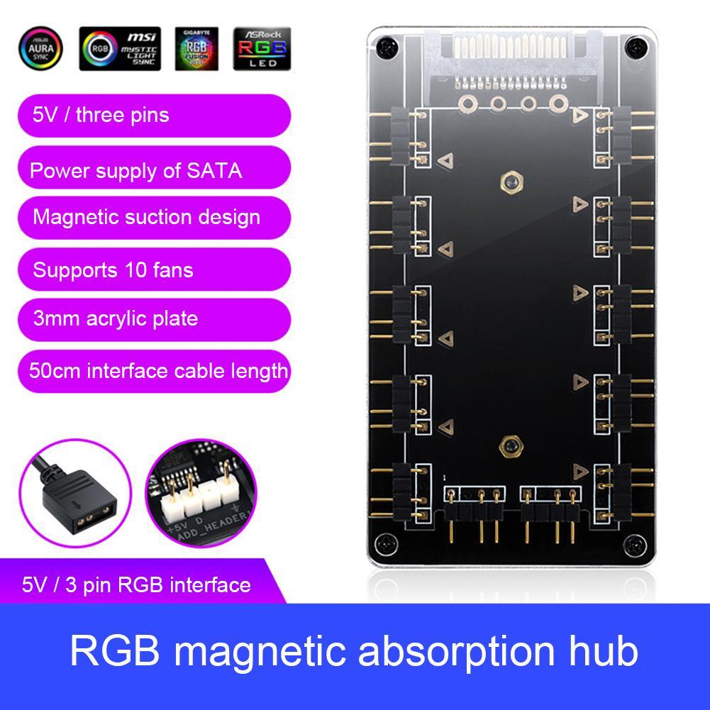 5V 3Pin/12V 4Pin magnético RGB divisor para ventilador de refrigeración Hub con Cable de extensión RGB ventilador con cubierta adaptador de Hub