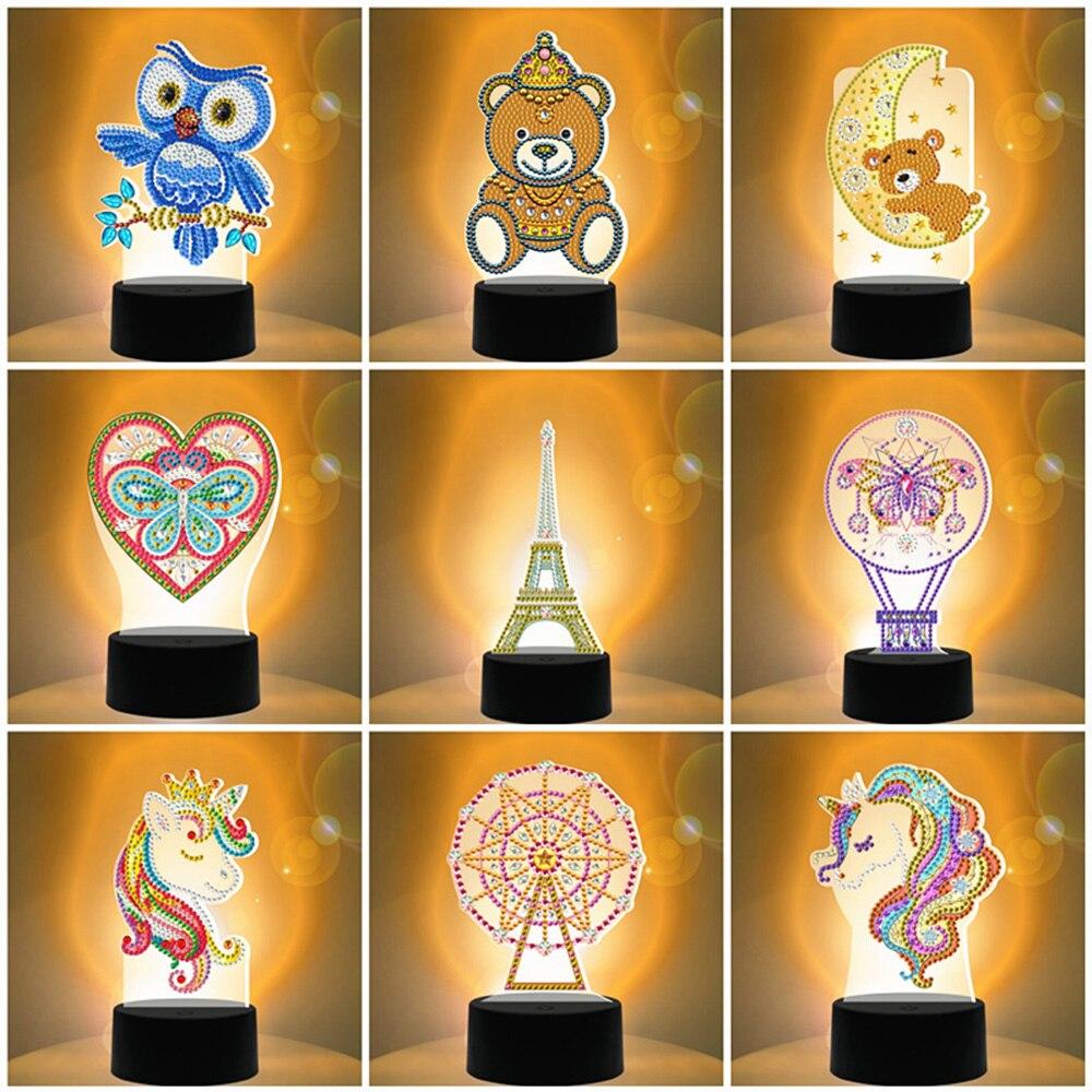 Lámpara LED EverShine, pintura de diamantes, mariposa bordada, colorida, Siete Luces DIY, decoración del hogar