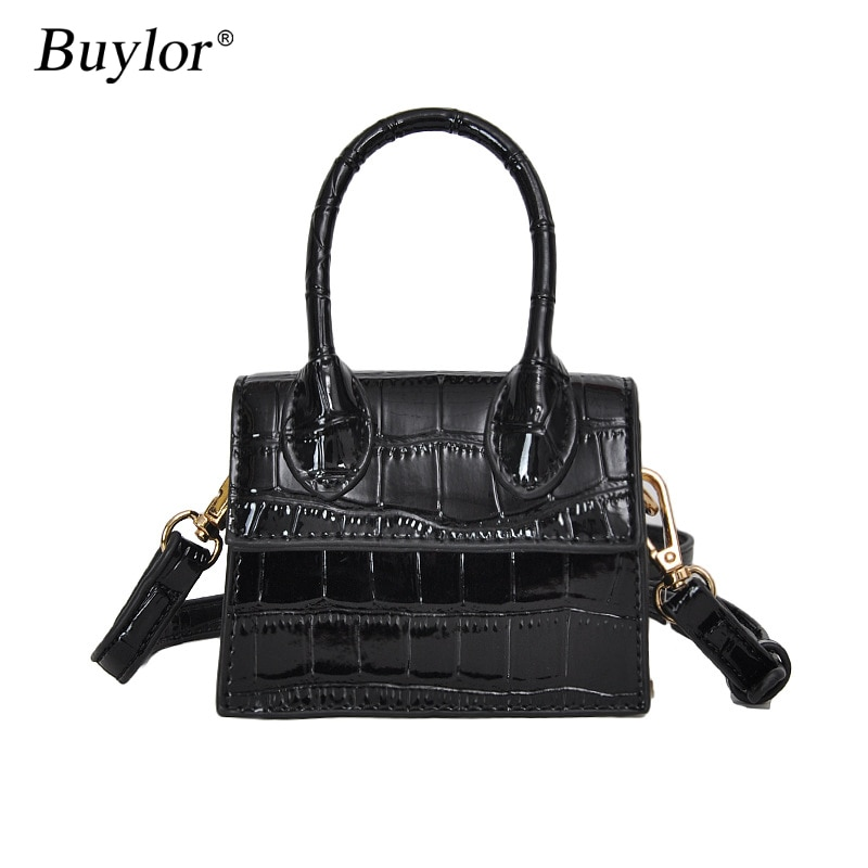 Buylor Crossbody Bag Mini Shoulder Bag Small Square Leather Handbag Cute Messenger Bag Crocodile Pattern Top Handle Clutch Tiny