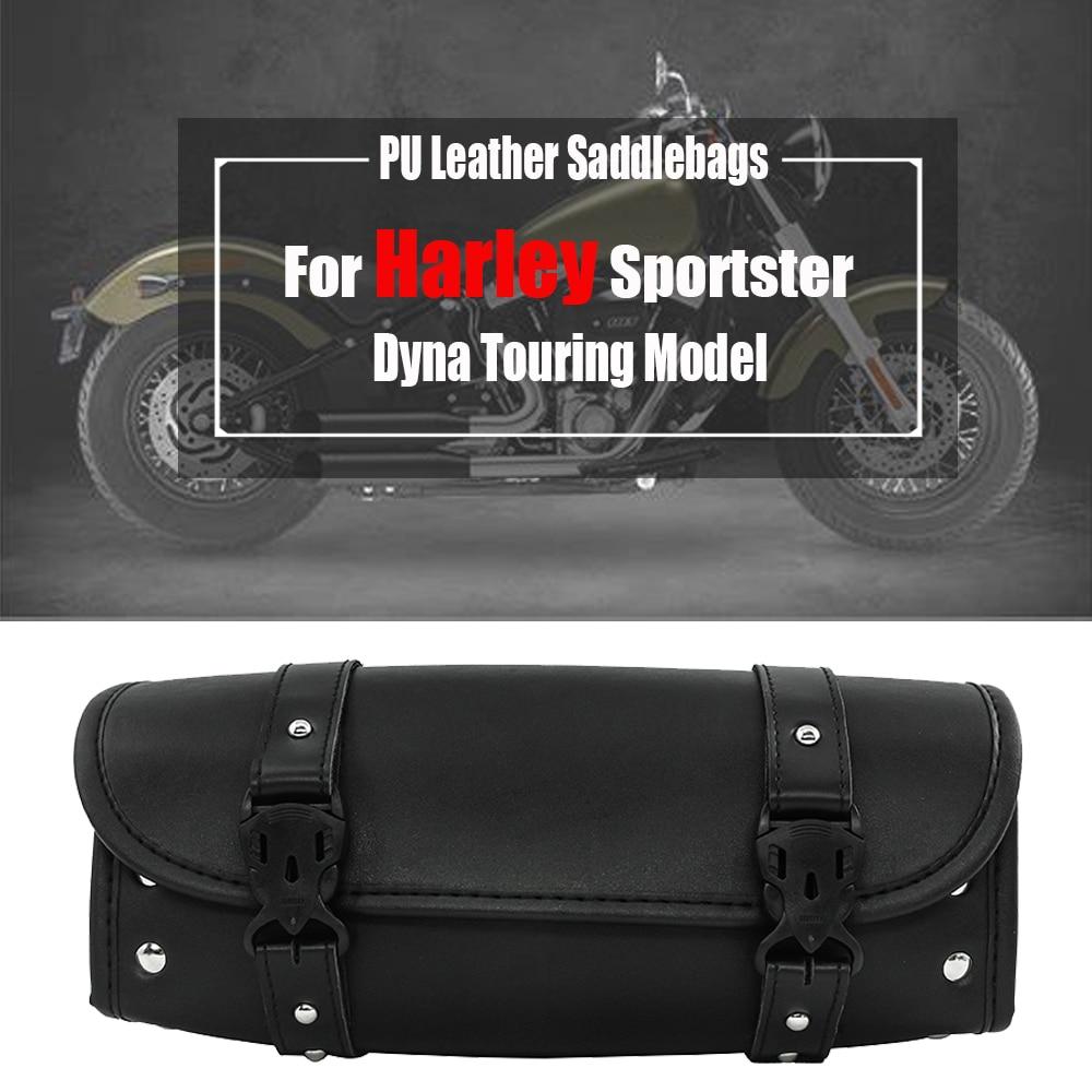For Harley Sportster Dyna Touring Model Universal Motorcycle PU Leather Luggage Bag Saddlebag Saddle Bag Side Storage Tool Pouch