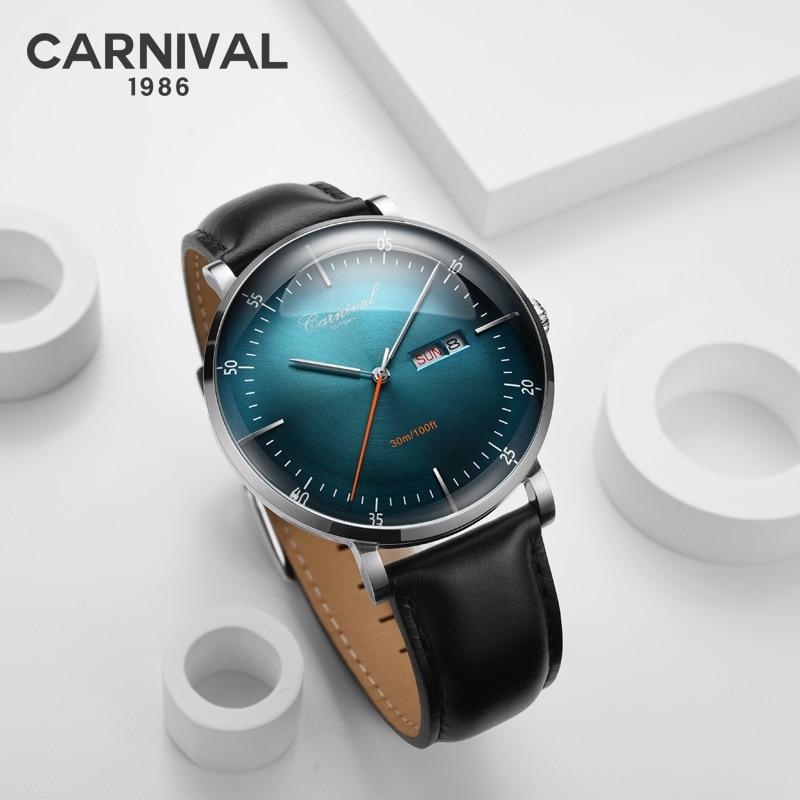 Relógio à Prova Marca de Luxo Carnaval Novo Masculino Clássico Relógios Mecânicos Relogi Negócios Dwaterproof Água Couro Genuíno Relógio Automático 2021