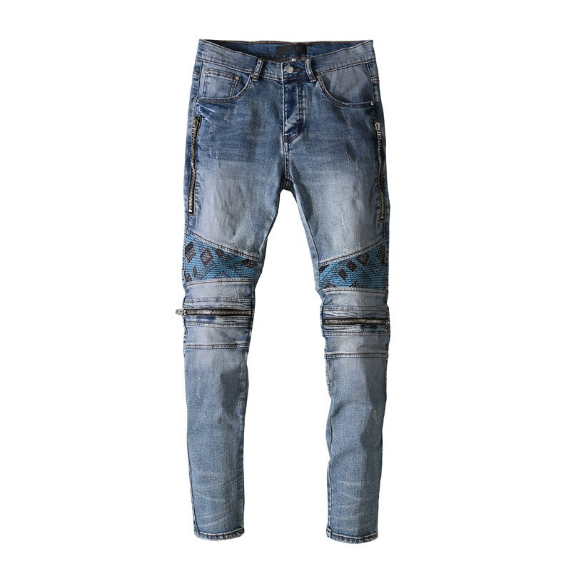 American Famous Brand AMR Patch Zipper Ripped Jeans Streetwear Homme Pants Traf Sweatpants Men Trousers Men's Clothing