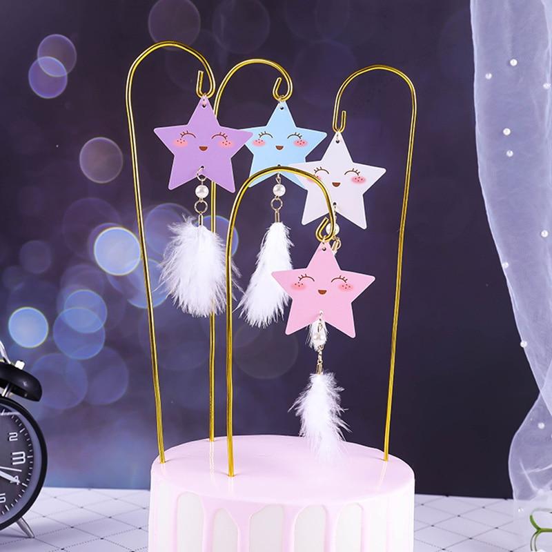 Estrellas Topper para tarta de feliz cumpleaños lindo Metal de dibujos animados Cupcake Topper para niña de boda cumpleaños adornos de pastel de fiesta Baby Shower