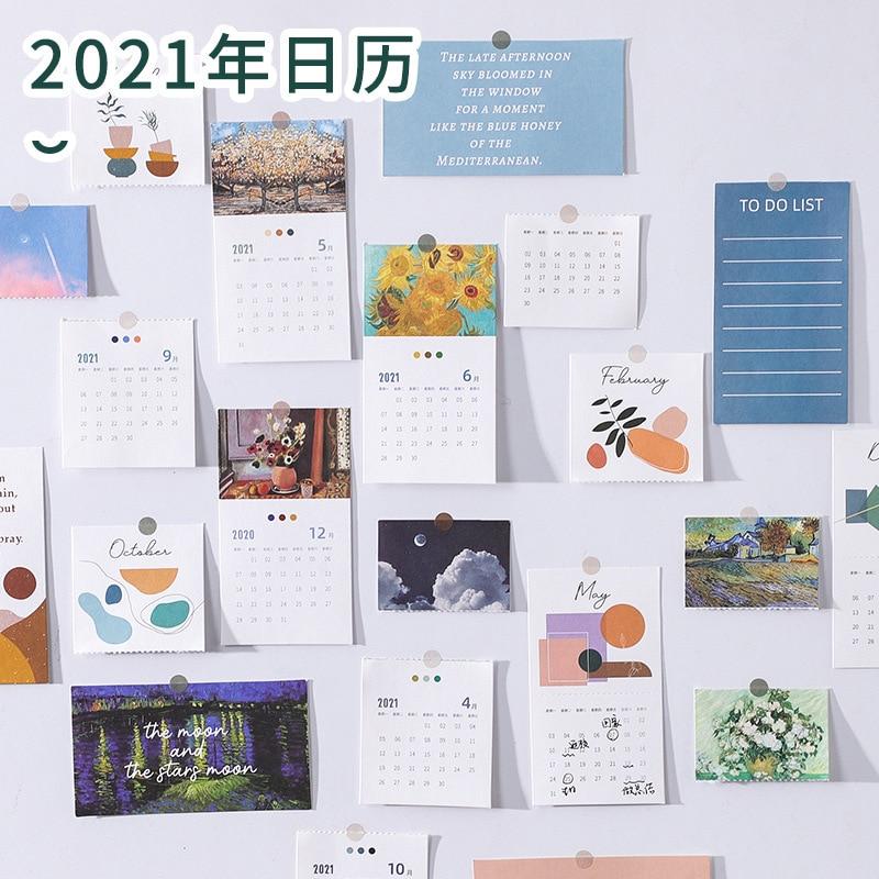 20 Pcs/Set 2021 Van Gogh Oil Painting Series Calendar Cards Mini Portable Note Calendars Monthly Schedule Planner