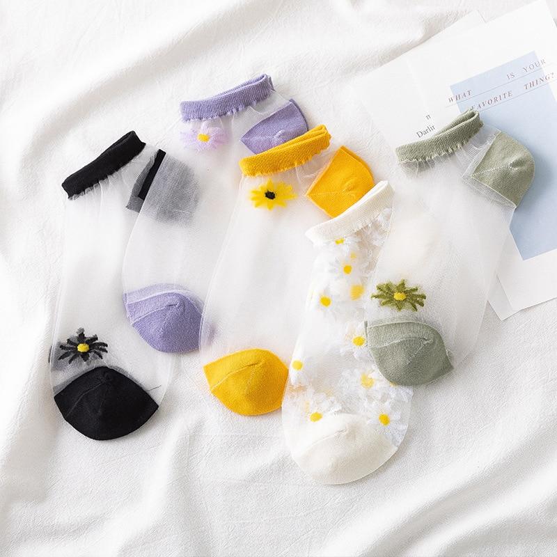 AOMU, 3 pares, 2020, moda, calcetines cortos transparentes de boca baja, calcetines coreanos Margarita pequeña de verano, tobillero fino, calcetines para mujeres y niñas