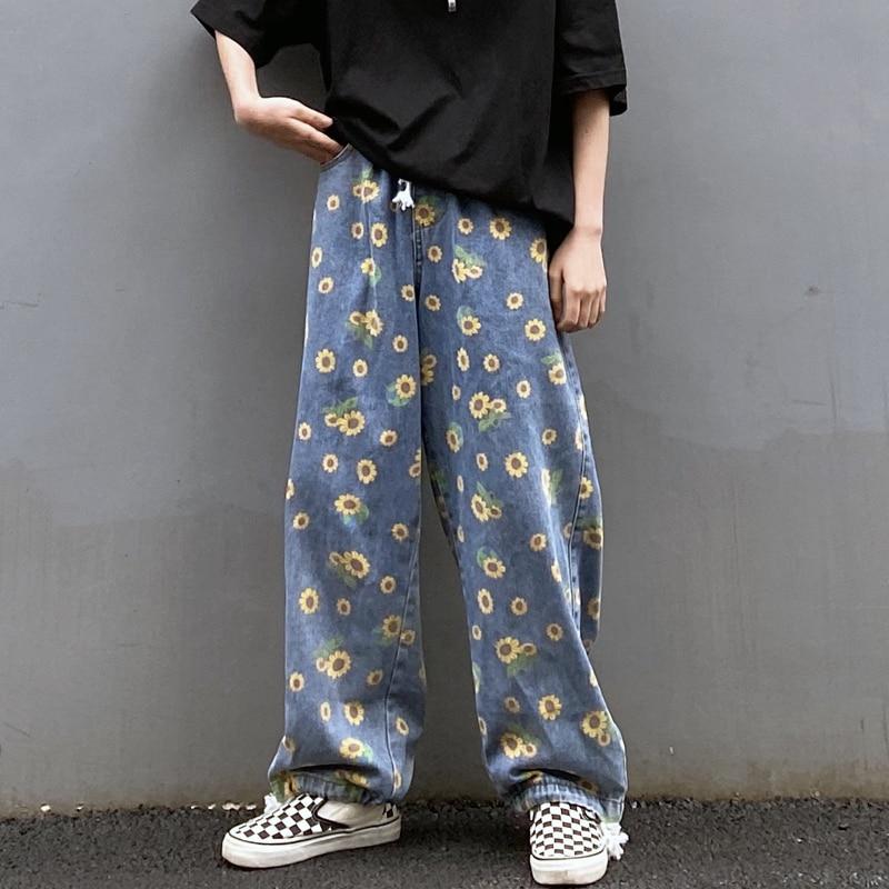 Pantalones vaqueros Harajuku con estampado de girasol, Vaqueros lavados Vintage para mujer, Pantalones rectos sueltos de cintura alta, pantalones harén a la moda para mujer y hombre
