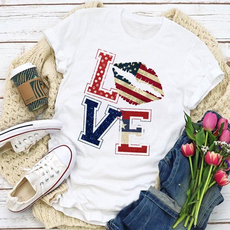 Женские футболки с рисунком флага США, патриотические летние топы с изображением американского флага, футболки с изображением губ и звезд, ...