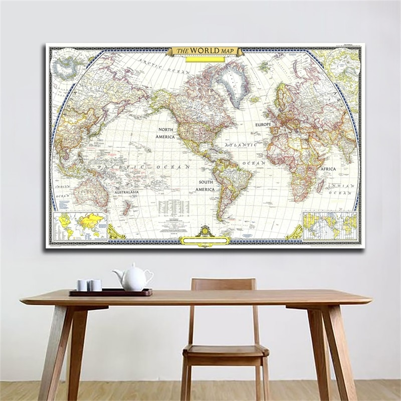 colorful world map wall decor 150x225cm large world map office supplies detailed antique poster wall chart for culture supplies A2 Vintage World Map 1951 Map of World Detailed Poster Wall Chart Retro Paper Kraft Paper School Home Decor Office Supplies