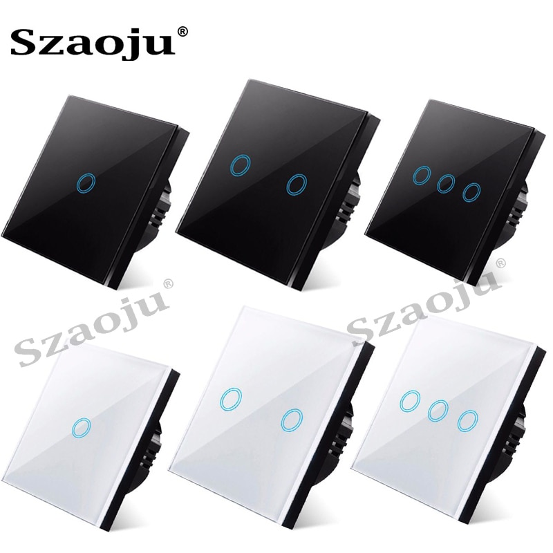 Szaoju Touch Switch EU Standard White Crystal Glass Panel Light Switch Ac110-220v Switch 1 Gang 1 Way ,Wall Lamp Touch Switch