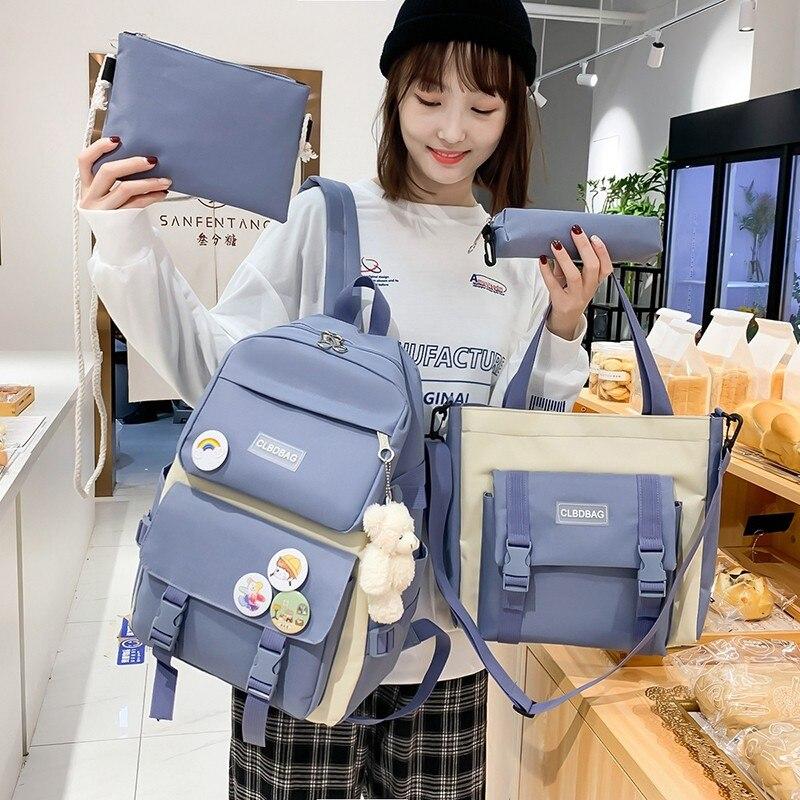 4 Pcs Set Harajuku Women Laptop Backpack Canvas School Bags For Teenage Girls Kawaii College Student