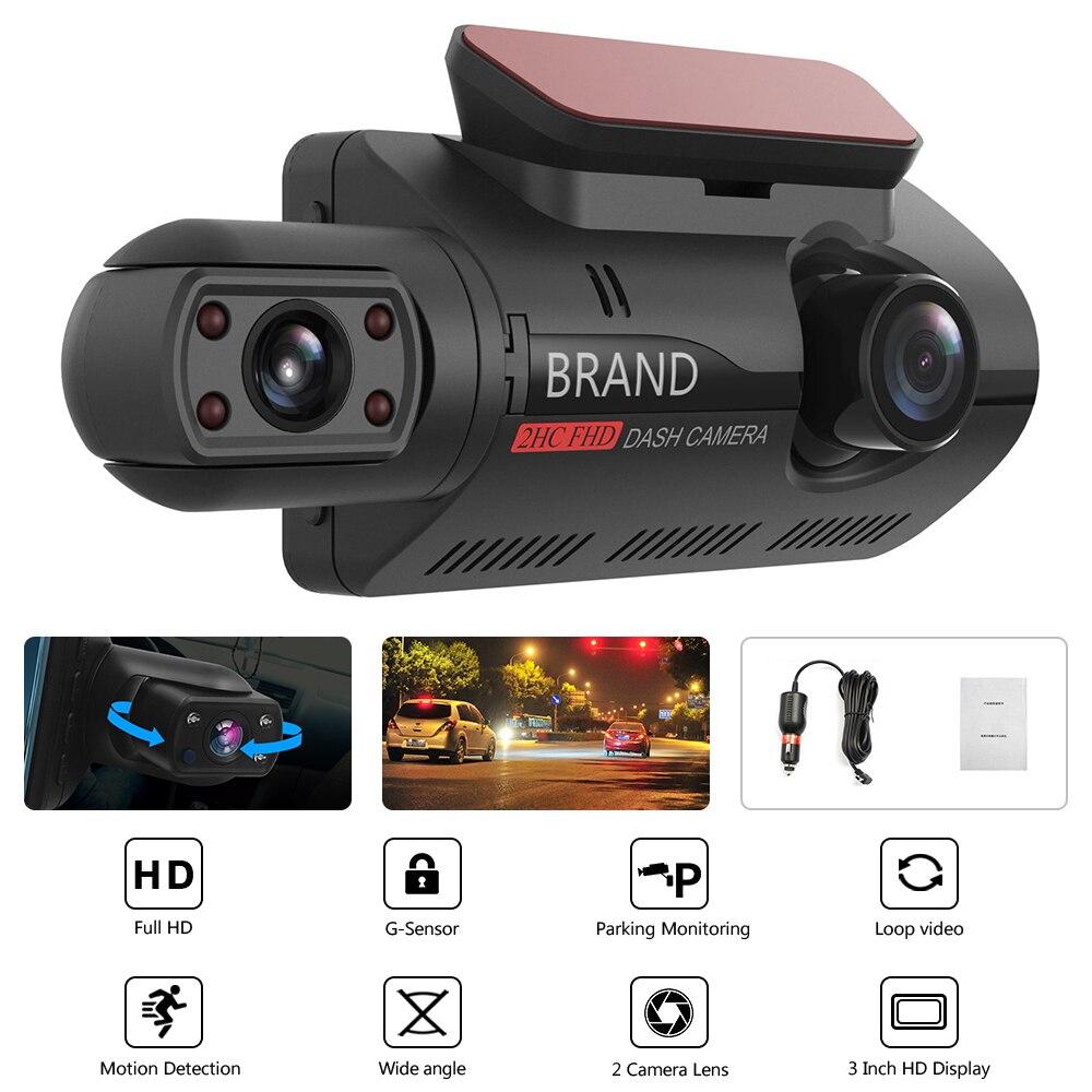 Автомобильный видеорегистратор FHD 1080P, Автомобильный регистратор с датчиком движения, двойной видеорегистратор с инфракрасным ночным виде...