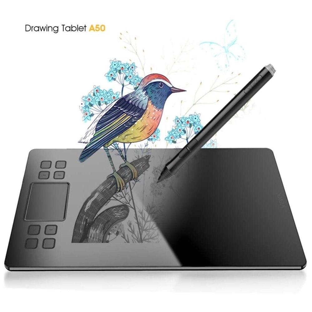 VEIKK-جهاز لوحي للرسومات A50 ، مع قلم سلبي ، 10 × 6 بوصة ، مساحة نشطة كبيرة ، سطح نسيج ورقي ، بدون بطارية