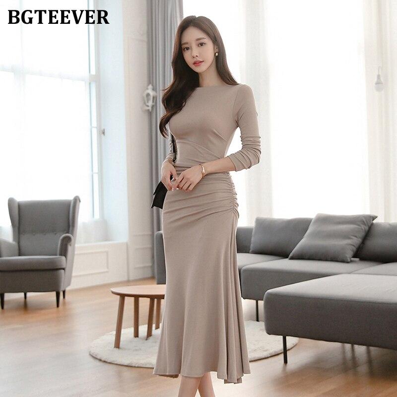BGTEEVER Casual One-schulter Maxi Frauen Kleid Schlanke Taille Geraffte Hüfte Paket Weibliche Kleid Solide Patry Vestidos femme 2019