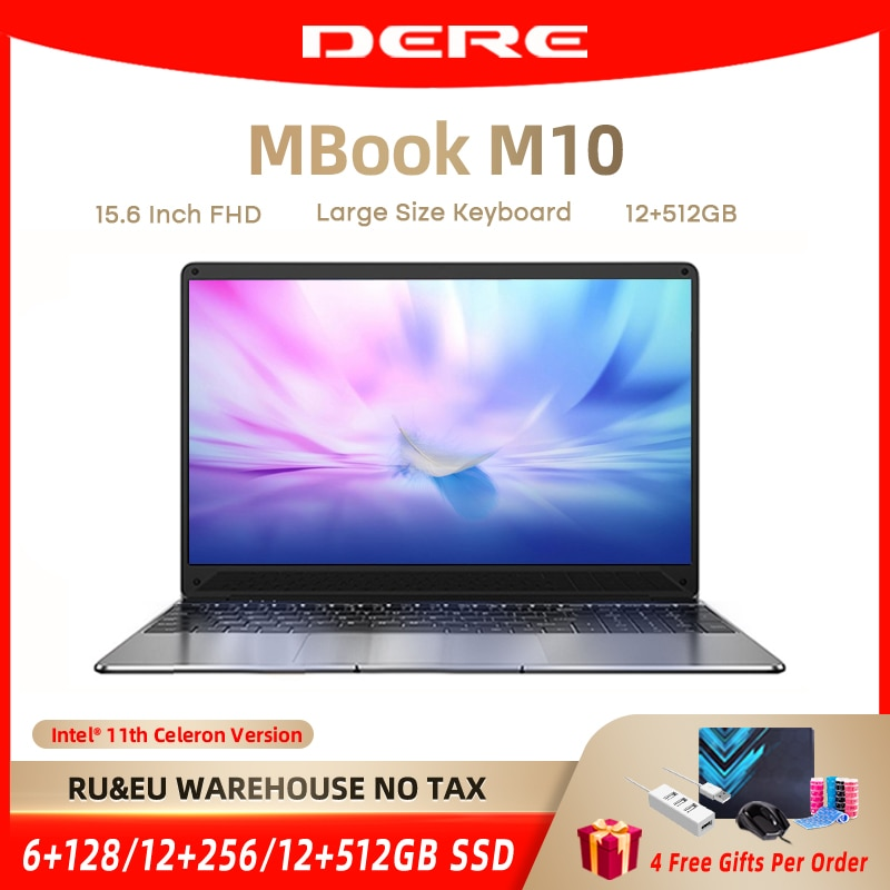 DERE Laptop MBook M10 15.6 Inch FHD Intel Celeron N5095 Core 12GB ROM 256/512GB Notebook Gaming Computer Windows 10 For Students
