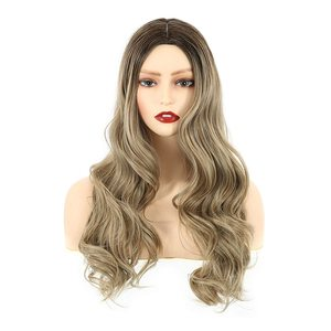 """VCKOVCKO Long Loose Ombre Natural Wavy Curly Wigs With Air Bangs Synthetic Heat Resistant Fiber Cosplay Wig for Women & Girl 22"""""""