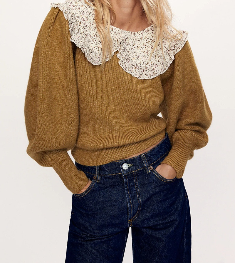 Europe And The United States Wind Autumn Sweet Set Of Broken Flowers Stitching Sweater