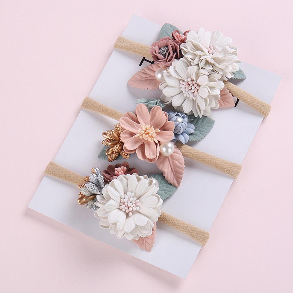 Детская нейлоновая повязка на голову с цветами для девочек, эластичная повязка на голову с жемчугом для новорожденных, свадебные аксессуар...