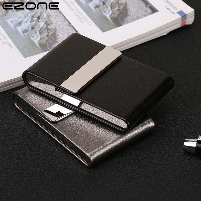 Чехол для визиток EZONE, мужской кожаный алюминиевый чехол для удостоверения личности и кредитных карт, алюминиевый чехол для кредитных карт