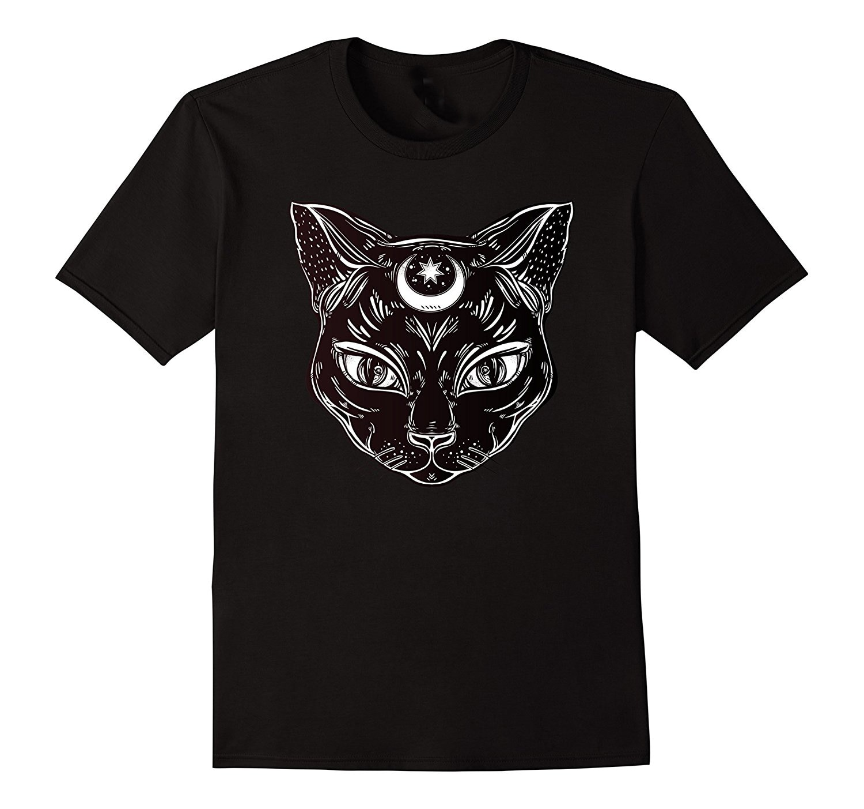 Camiseta informal para hombre... ropa de gato negro Halloween Bohemia tatuaje gótico...