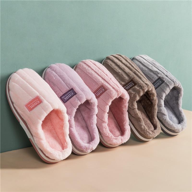 KushyShoo, zapatillas de mujer, zapatillas de dormitorio, zapatillas de interior simples, sólidas, de invierno, cálidas, de algodón, zapatillas de pareja, Zapatillas de casa, zapatos para hombres