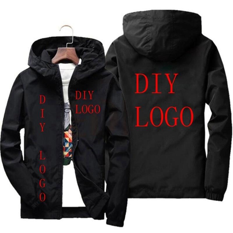 Ветровка с логотипом на заказ, Мужская Осенняя уличная куртка с капюшоном, Мужская джинсовая куртка на молнии, брендовая одежда