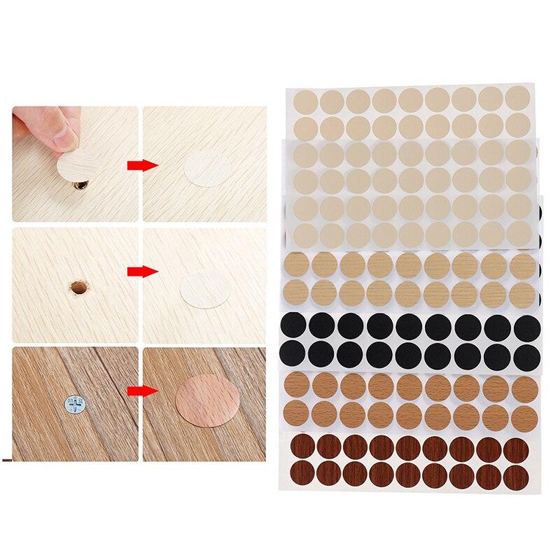 54 pçs filmes decorativos móveis adesivos de madeira artesanato gabinete de mesa ornamento 1 folha auto tampa de parafuso tampões adesivos adesivo