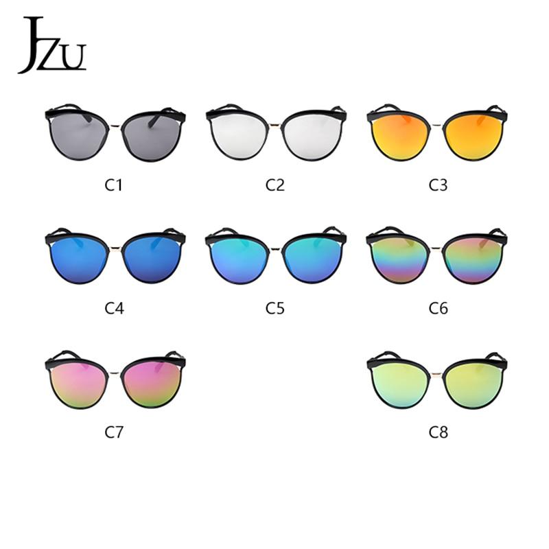 Jzu preto óculos de sol feminino 2019 moda designer de marca oversized redondo vintage espelho lentes de plástico feminino óculos de sol masculino
