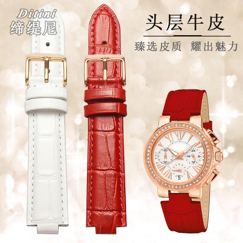 Correa de reloj de cuero genuino para FolliFollie WD13B001SES 22*12 18*9mm color convexo rojo blanco negro
