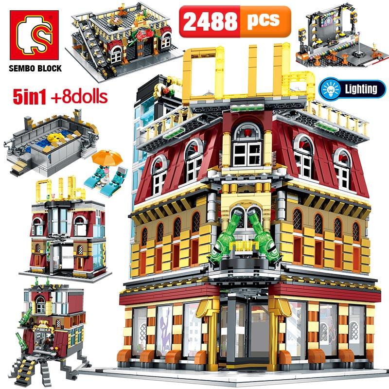 SEMBO-مكعبات بناء 5 في 1 مع ضوء USB ، لعبة تعليمية ، بناء ملهى ليلي ، مدينة ، شارع ، مدينة ، نموذج ، طوب