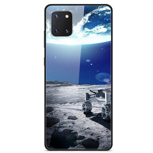 For Samsung Galaxy A81 Phone Case Tempered Glass Case Back Cover Star Sky Pattern